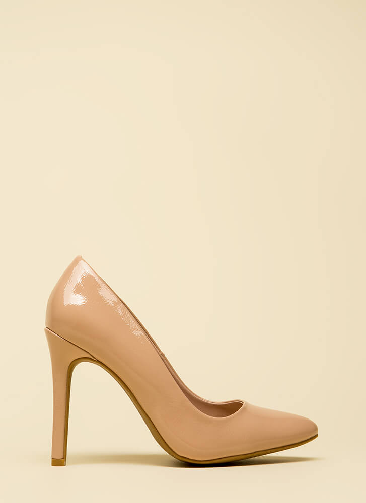 Take A Pledge Pointy Faux Patent Pumps NUDE