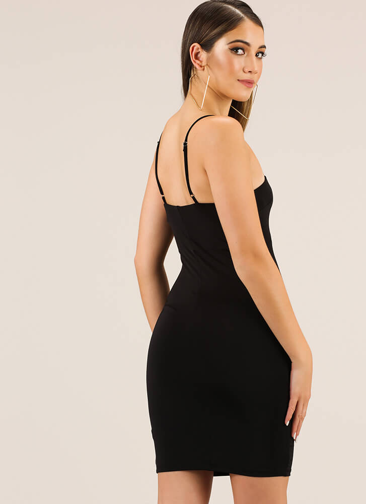 The Perfect Fit Solid Midi Dress BLACK