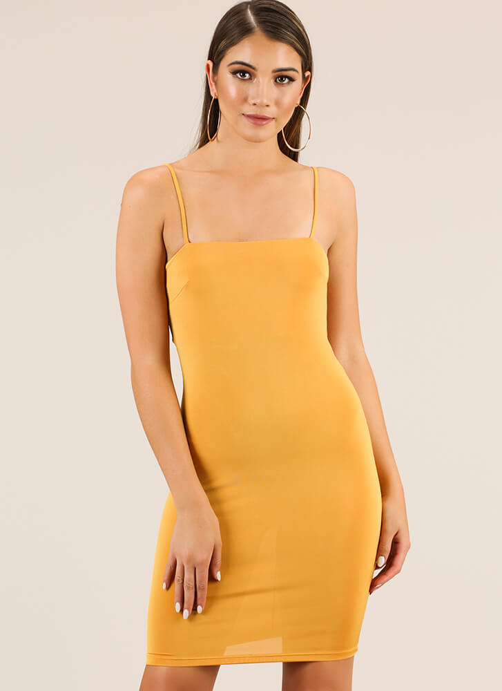 The Perfect Fit Solid Midi Dress MUSTARD