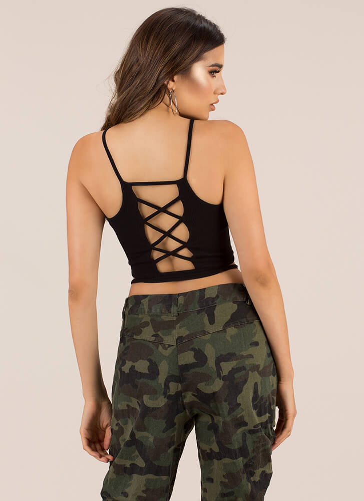 Strappily Ever After Caged Back Top BLACK