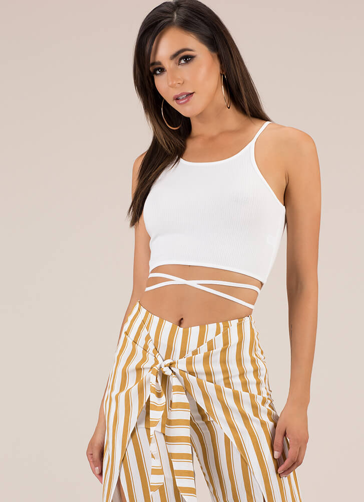 Strappily Ever After Caged Back Top WHITE