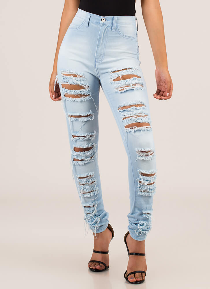 Gone In A Slash Destroyed Skinny Jeans LTBLUE