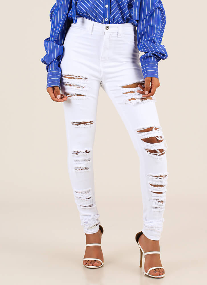 Gone In A Slash Destroyed Skinny Jeans WHITE