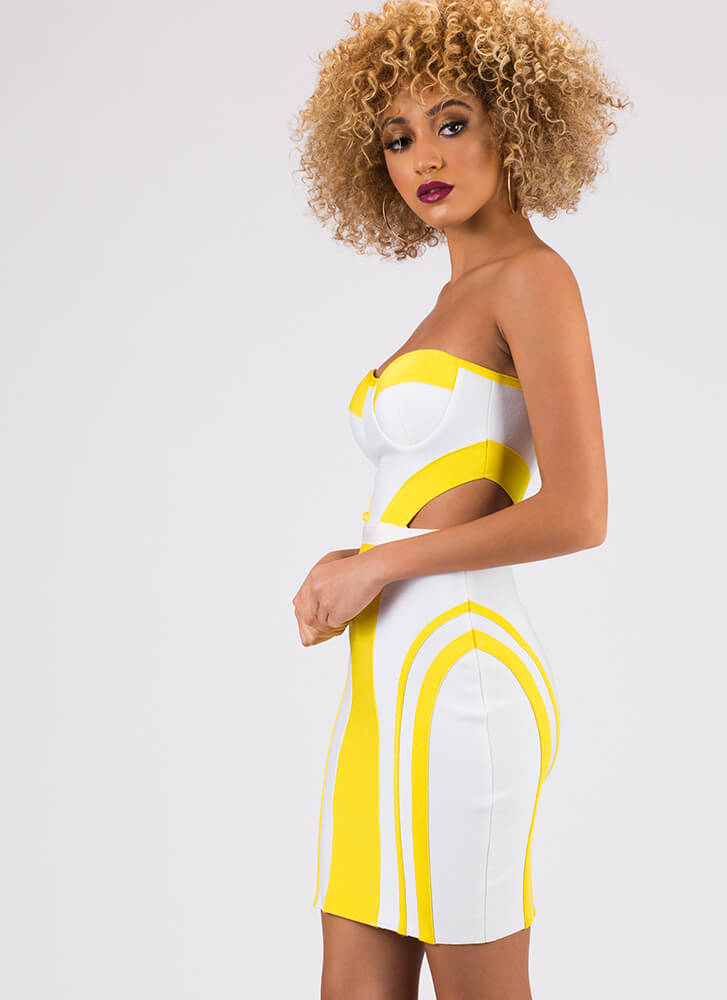 Curves Ahead Strapless Bandage Dress YELLOWWHITE (Final Sale)