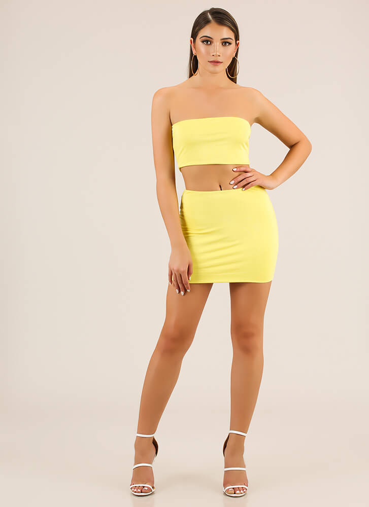 Perfect Match Tube Top And Skirt Set YELLOW