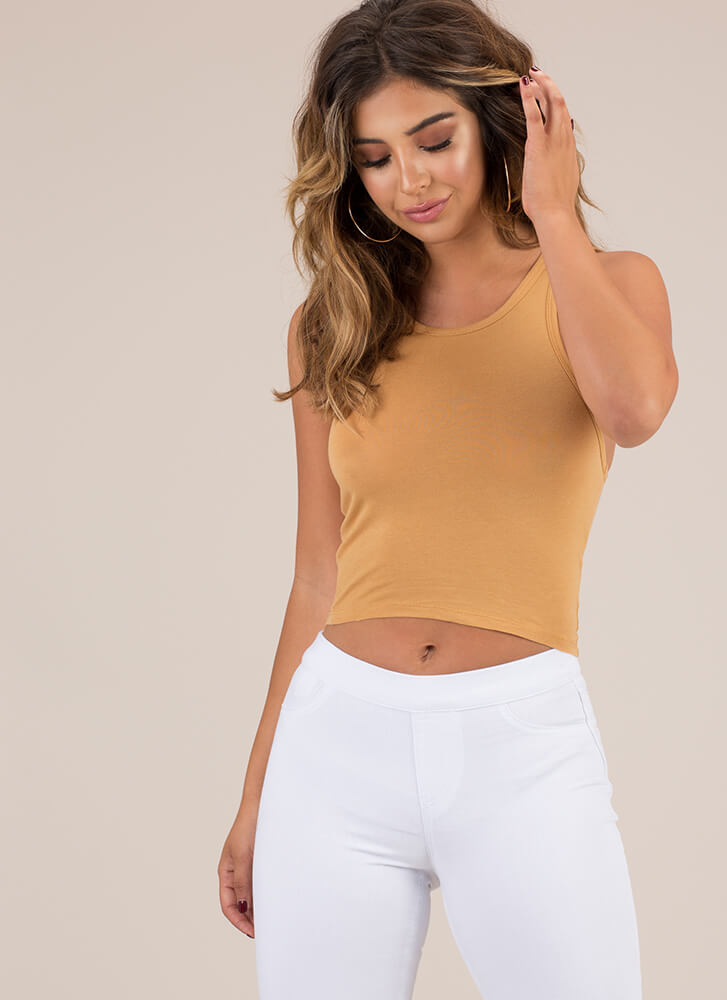 My Needs Racerback Cropped Tank Top MUSTARD