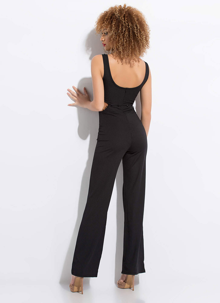 Serious Style Cut-Out Wide-Leg Jumpsuit BLACK