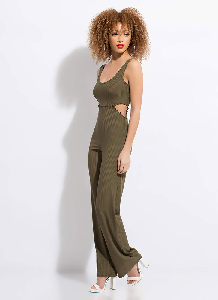 Serious Style Cut-Out Wide-Leg Jumpsuit OLIVE