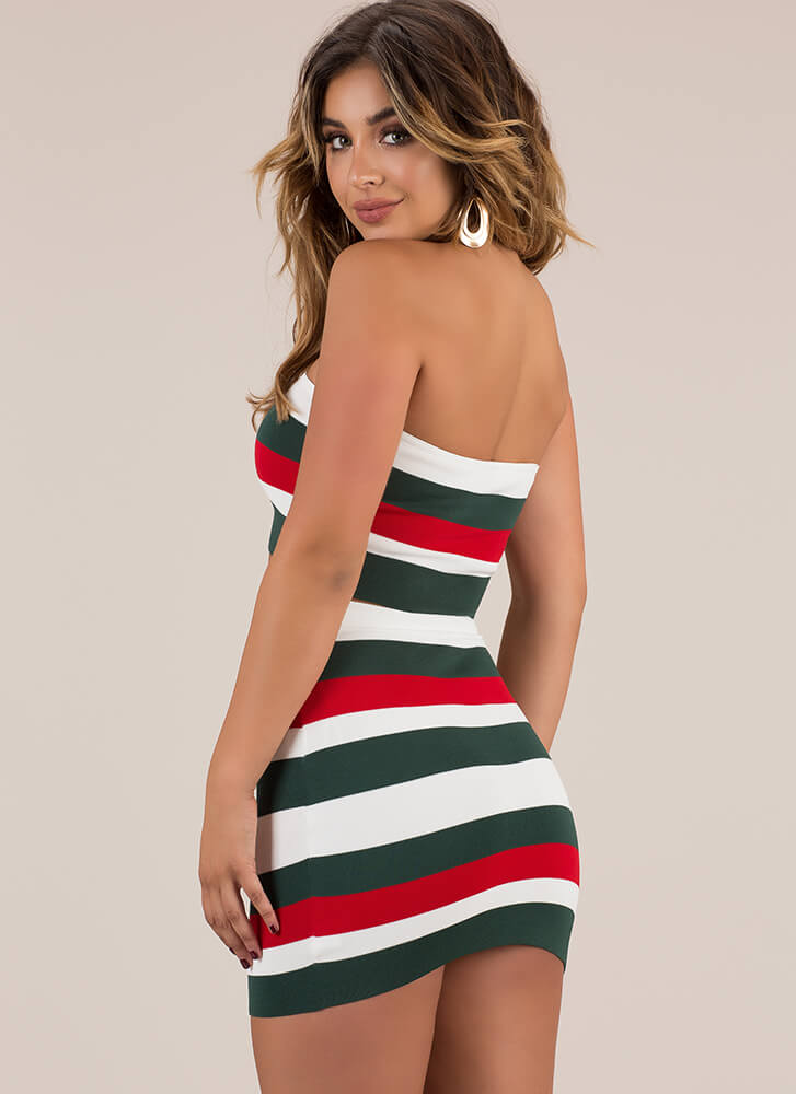 Just Stripes Strapless Top And Skirt Set HGREEN