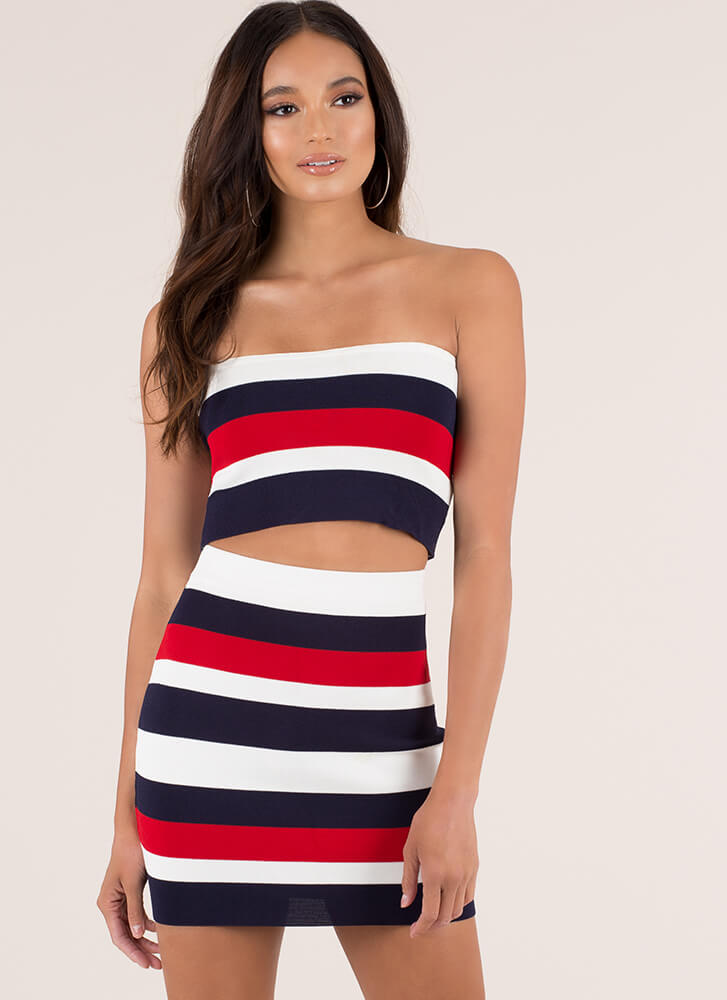 Just Stripes Strapless Top And Skirt Set NAVY