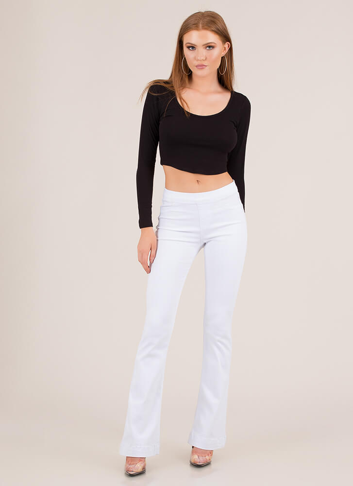 Take It Easy Flared Denim Pants WHITE