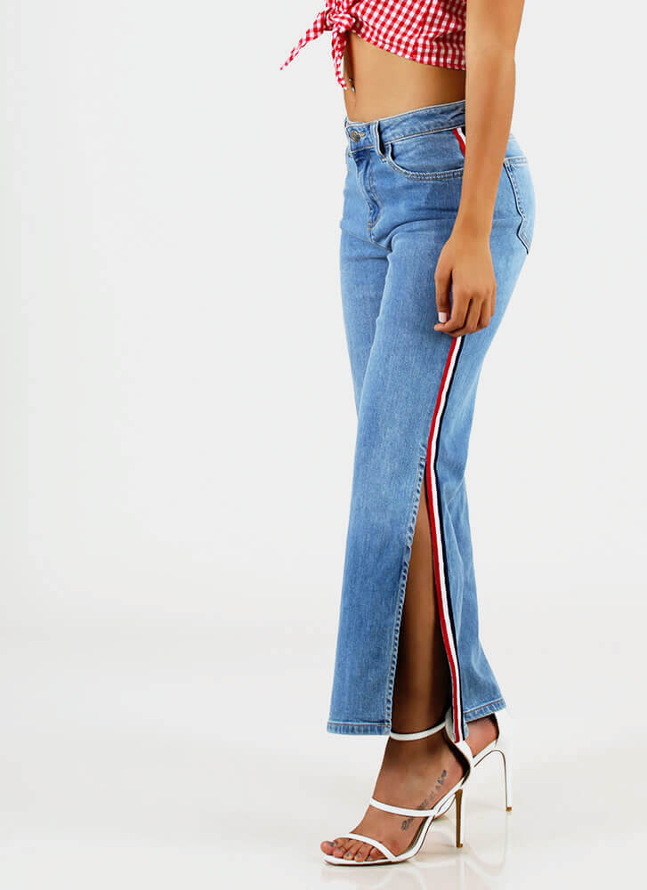 Slits Been Awhile Striped Wide-Leg Jeans MEDBLUE