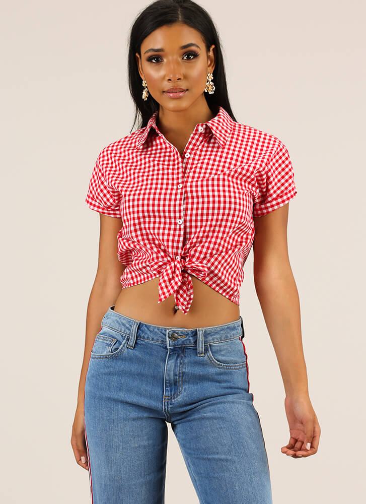 A Little Bit Country Tied Gingham Top RED