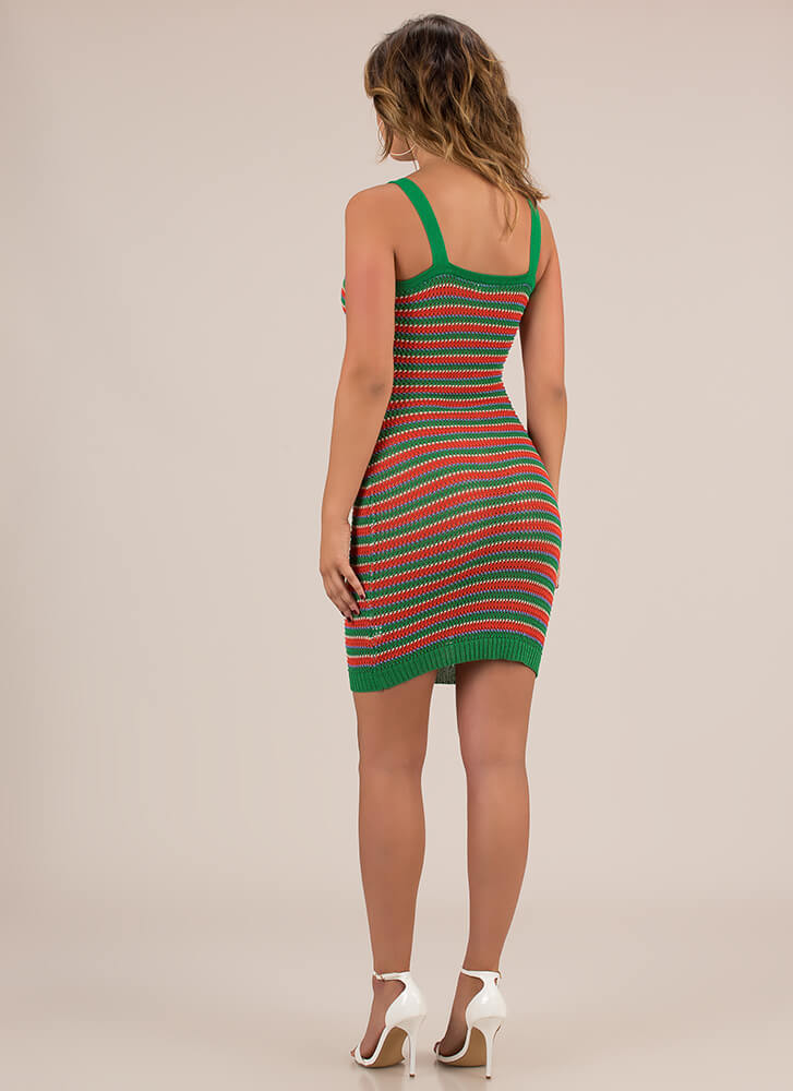 Have A Good Weekend Striped Knit Dress GREEN