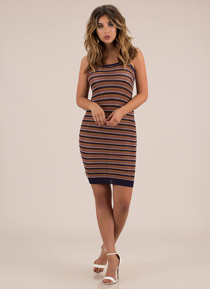 Have A Good Weekend Striped Knit Dress NAVY