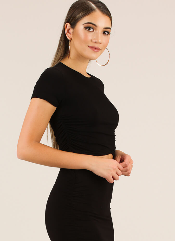 Gather Yourself Ruched Crop Top BLACK