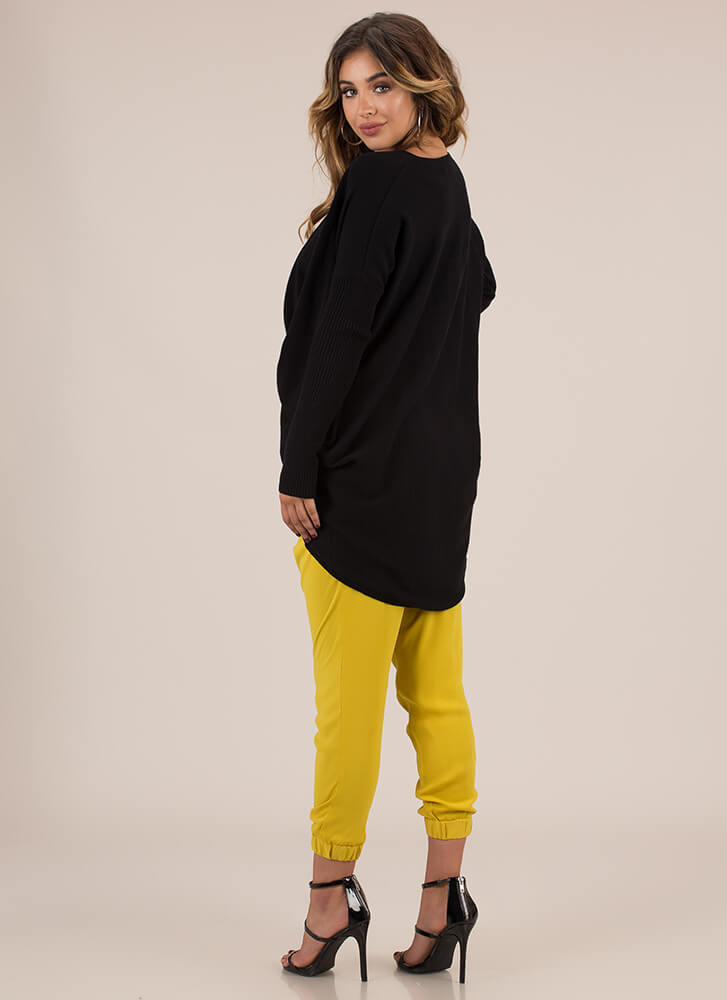 With A Twist Draped High-Low Sweater BLACK