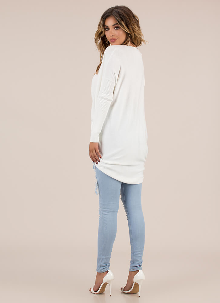 With A Twist Draped High-Low Sweater OFFWHITE