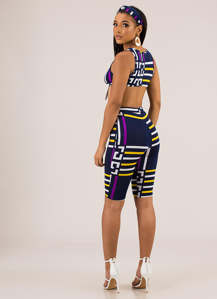 Head Of The Game Striped 3-Piece Set NAVY (Final Sale)
