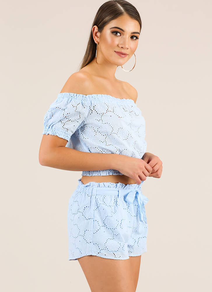 The Eyelets Have It Top And Shorts Set LTBLUE
