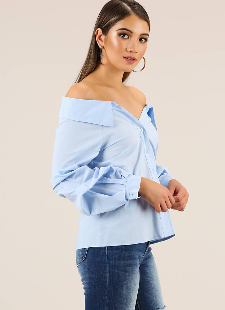 Going Off-Shoulder Button-Up Blouse BLUE