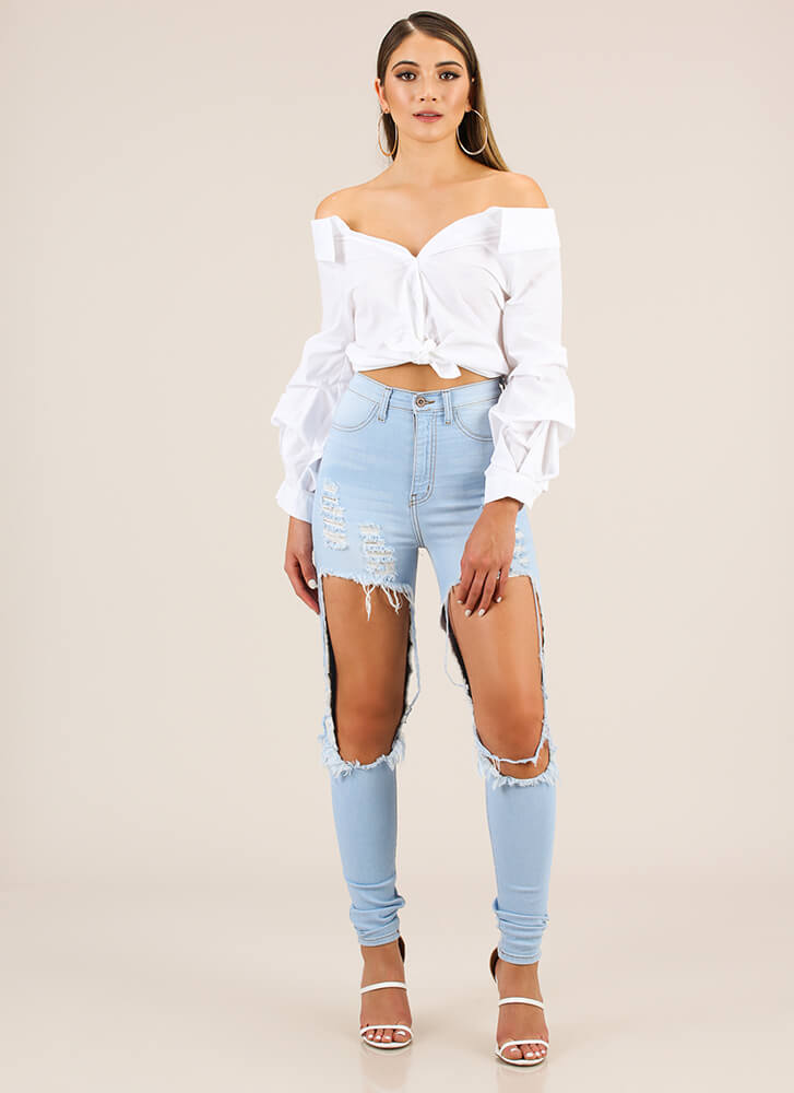 Going Off-Shoulder Button-Up Blouse WHITE
