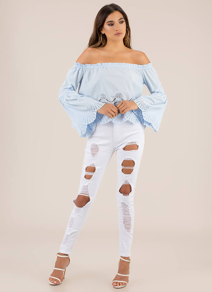 Festival Favorite Off-Shoulder Top LTBLUE