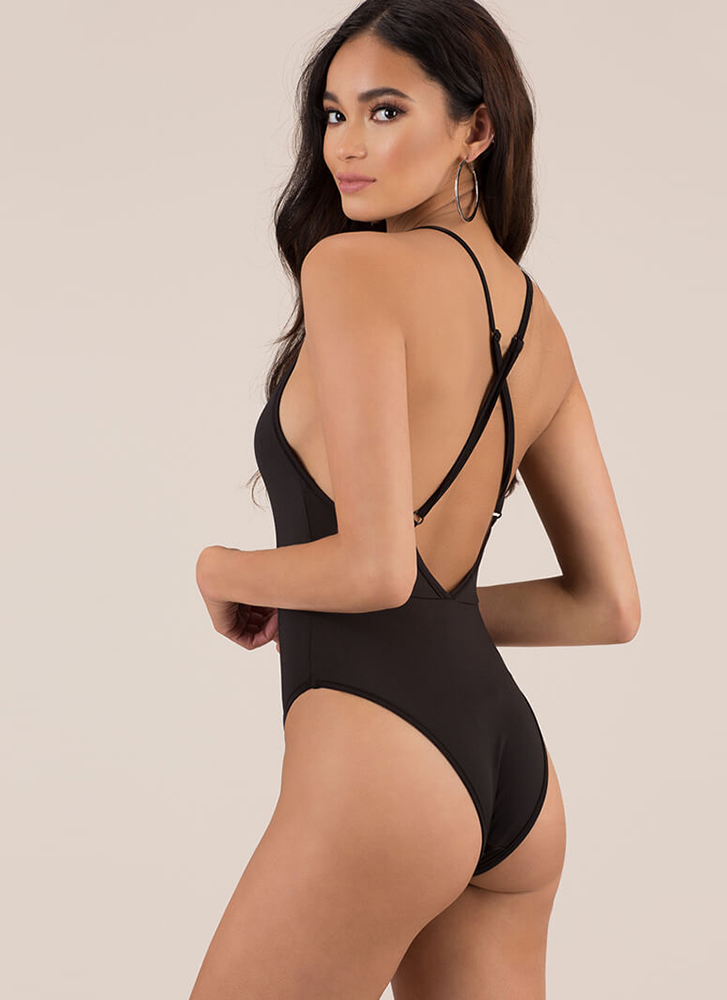 You Are So Beautiful Solid Swimsuit BLACK (You Saved $16)