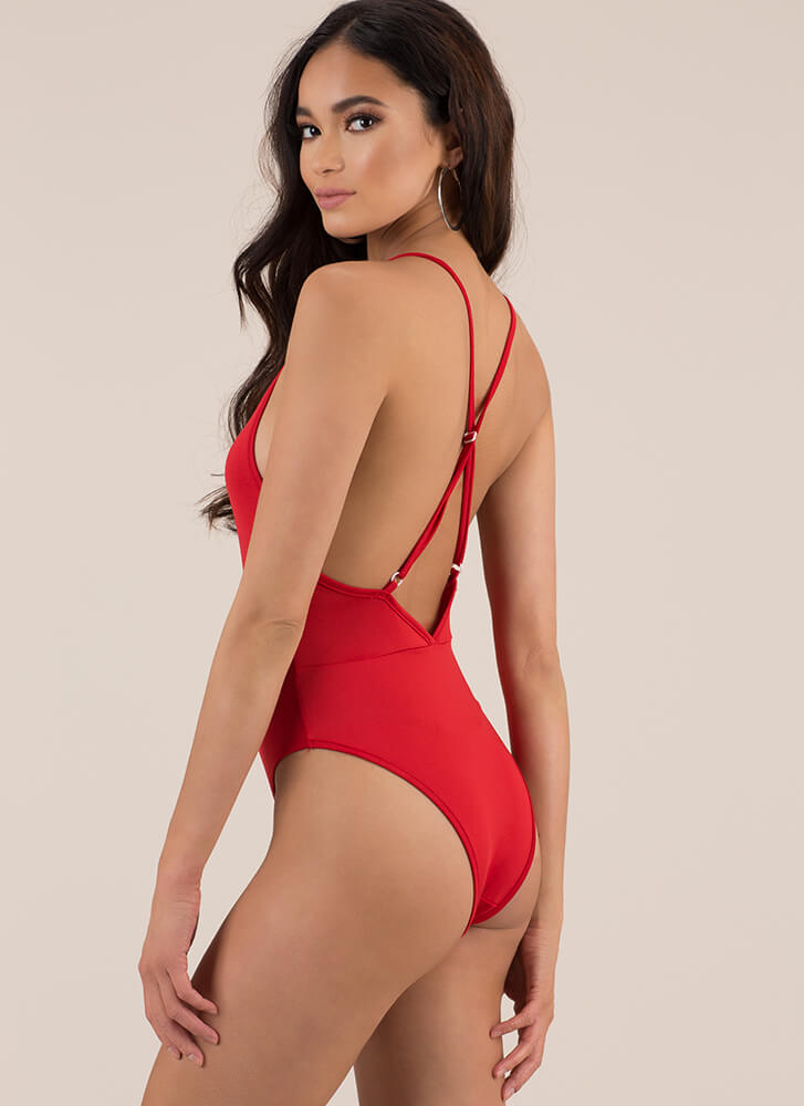 You Are So Beautiful Solid Swimsuit RED (You Saved $16)