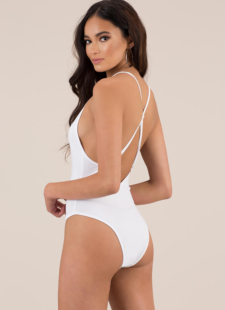 You Are So Beautiful Solid Swimsuit WHITE (You Saved $16)