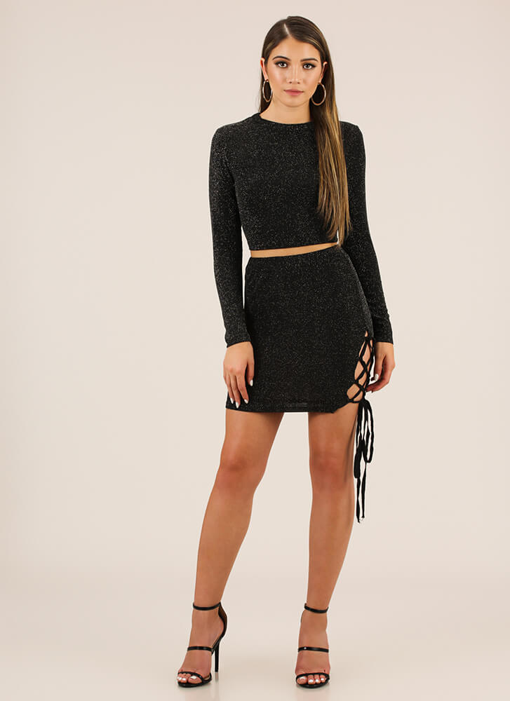Lurex Me In Lace-Up Top And Skirt Set BLACK