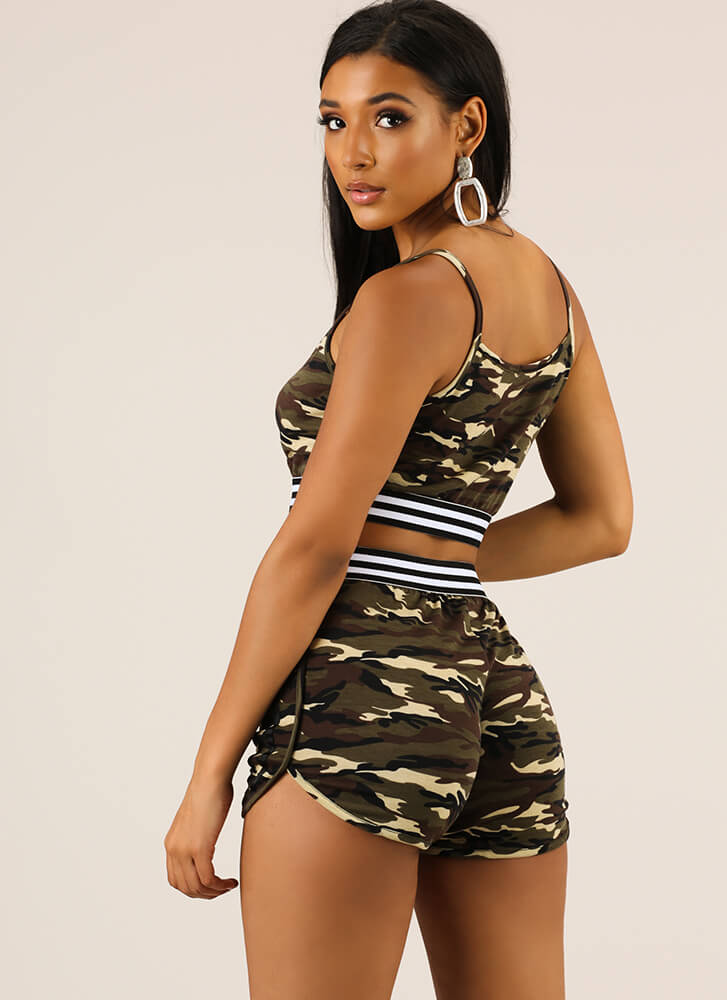 Cool Camo Striped Top And Shorts Set CAMO