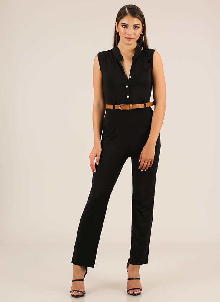 The Business Belted Button-Up Jumpsuit BLACK