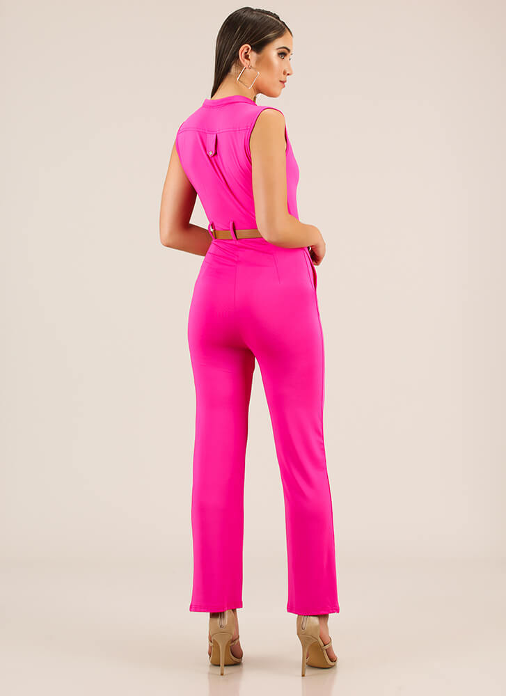 The Business Belted Button-Up Jumpsuit FUCHSIA