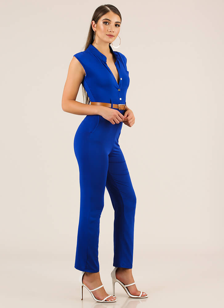 The Business Belted Button-Up Jumpsuit ROYAL