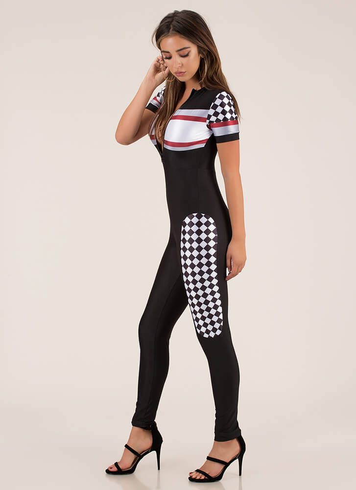 You Race Me Up Checkered Jumpsuit BLACK