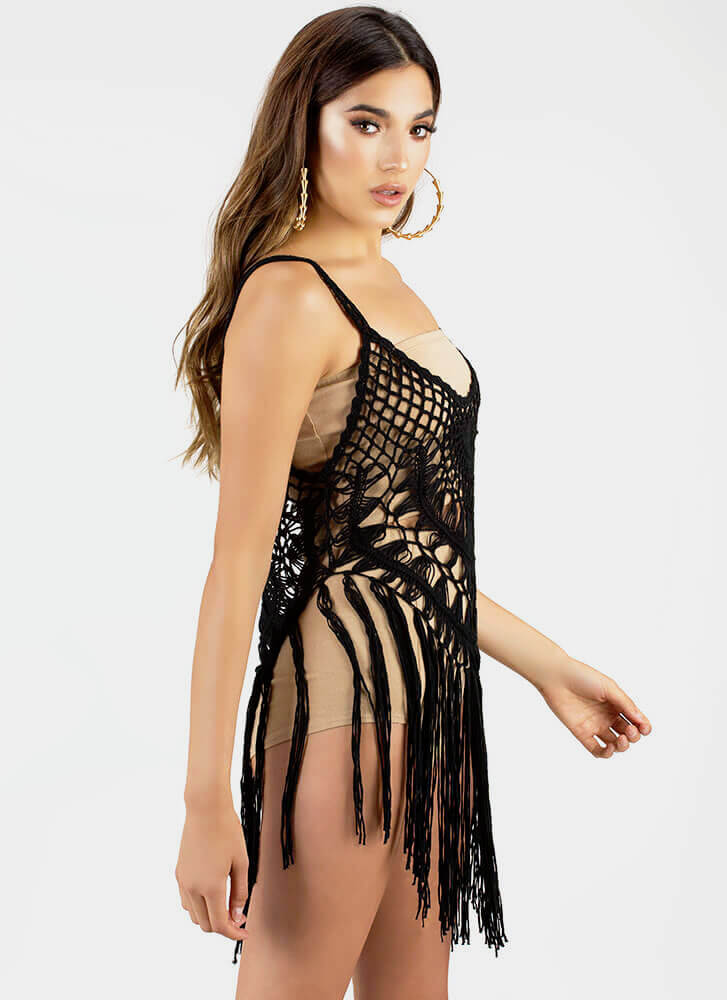 Net Picks Fringed Crochet Knit Top BLACK