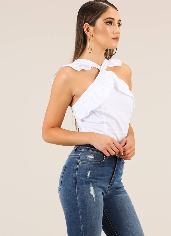 Ruffles Give You Wings Tank Top WHITE
