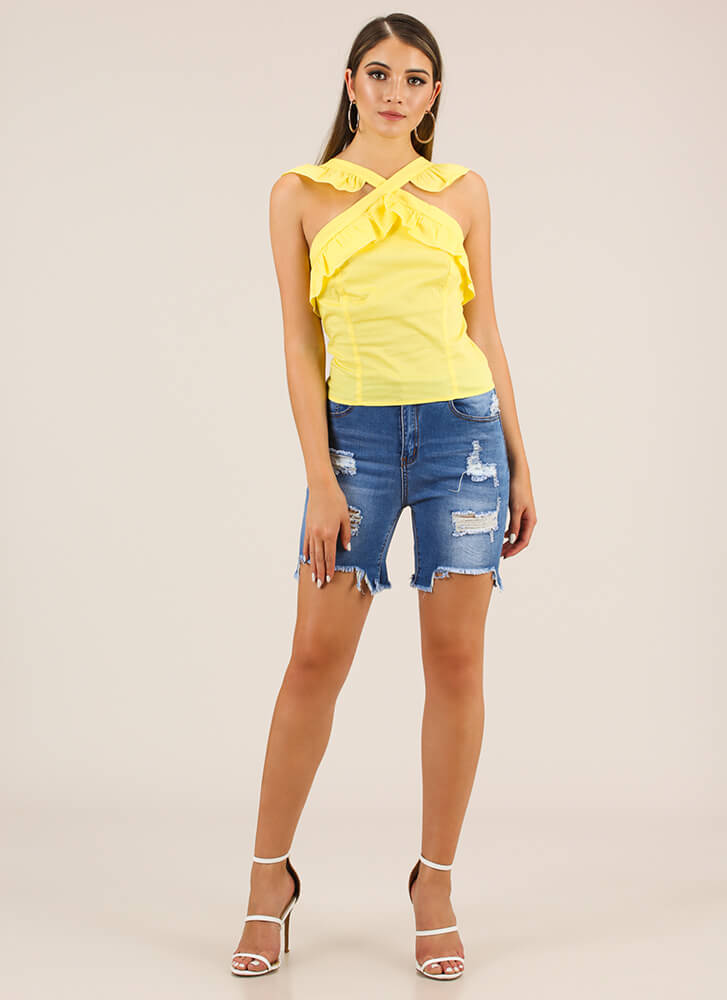 Ruffles Give You Wings Tank Top YELLOW
