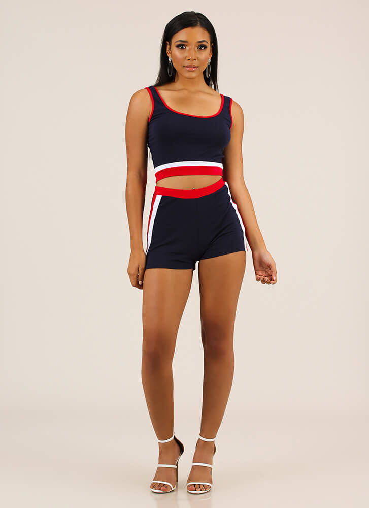 Sporty Illustrated Striped 2-Piece Set NAVY