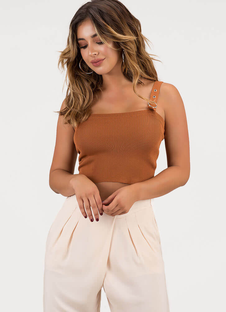 Buckled In Knit Cropped Tank Top CAMEL