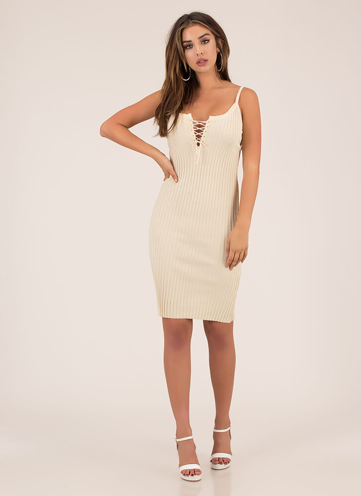 Lace Me Up Rib Knit Midi Dress NUDE