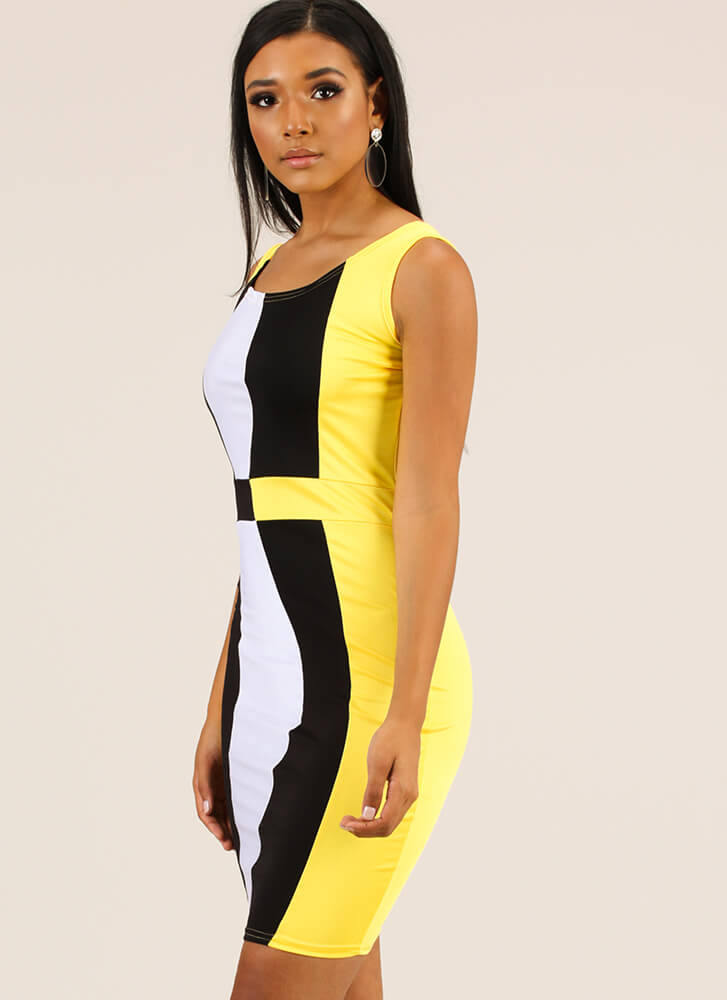 Unexpected Curves Colorblock Midi Dress YELLOW