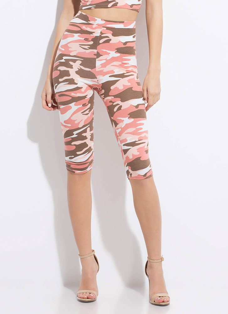In Command High-Waisted Camo Capris PINK