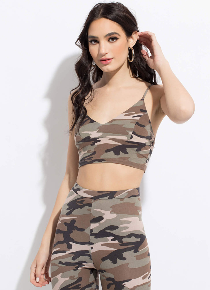 In Command Cropped Camo Tank Top OLIVE