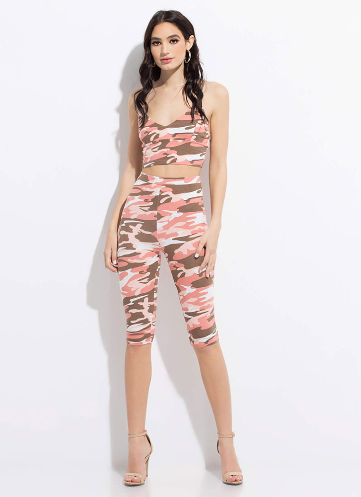 In Command Cropped Camo Tank Top PINK