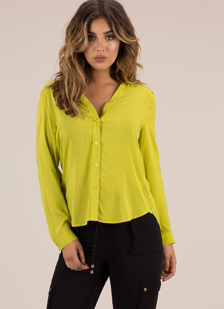 Keep Things Light Button-Up Blouse MUSTARD