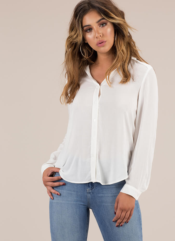 Keep Things Light Button-Up Blouse OFFWHITE