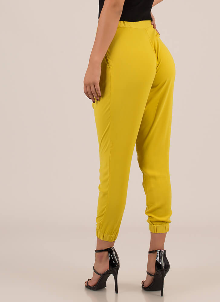 In Fine Fashion Pleated Jogger Pants MUSTARD