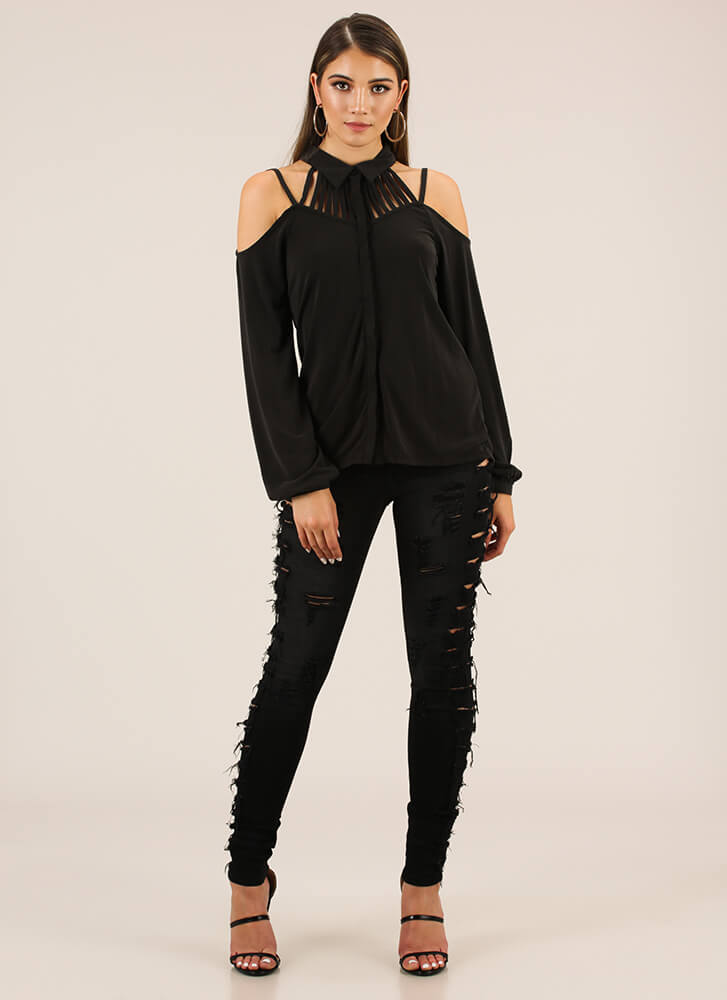 Keep Me Strappy Button-Up Blouse BLACK